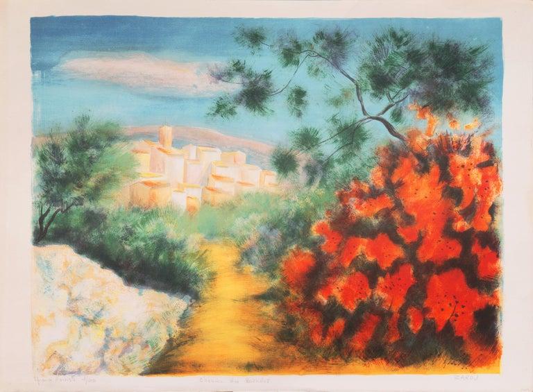 'Chemin des Bastides, Aix-en-Provence', Côte d'Azur, French Post-Impressionist - Print by Victor Zarou