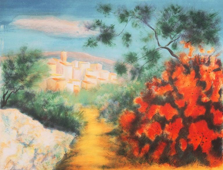 Victor Zarou Landscape Print - 'Chemin des Bastides, Aix-en-Provence', Côte d'Azur, French Post-Impressionist