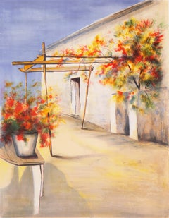 Provençale Courtyard  (Trellis, Flowers, Post-Impressionism, French)