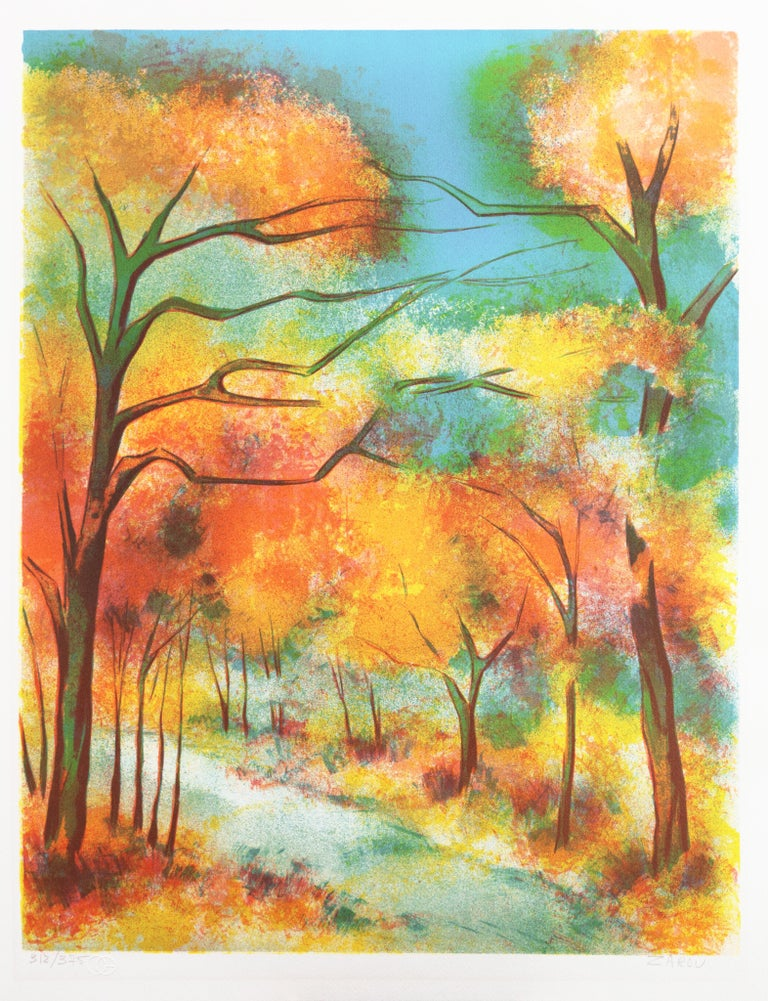Fall Leaves  (Post-Impressionism, French, tree, red, orange) For Sale 1