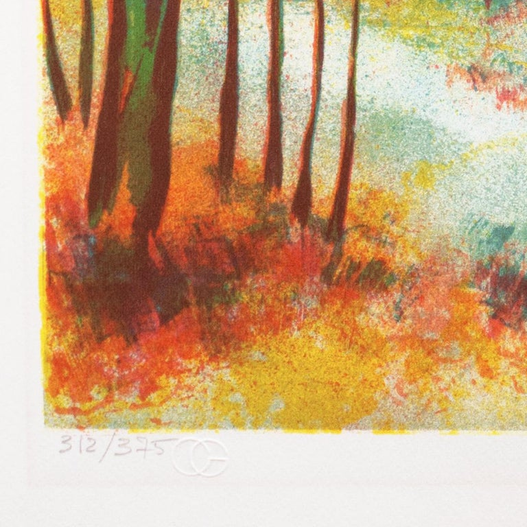 Fall Leaves  (Post-Impressionism, French, tree, red, orange) - Brown Landscape Print by Victor Zarou