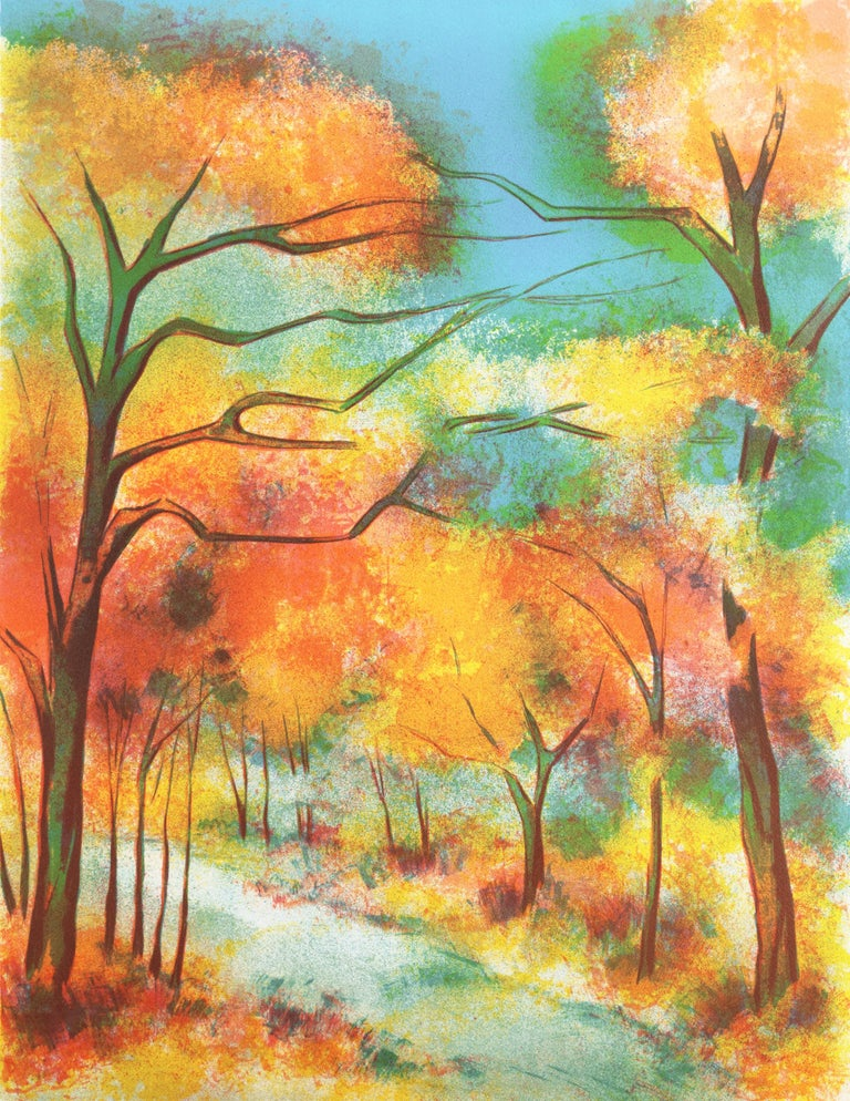 Victor Zarou Landscape Print -  Fall Leaves  (Post-Impressionism, French, tree, red, orange)