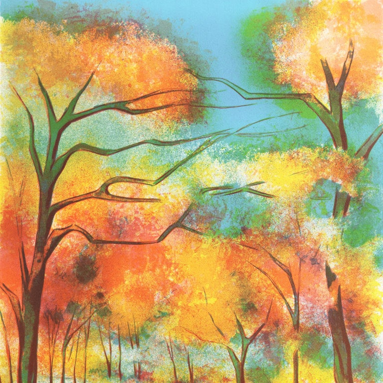 Fall Leaves  (Post-Impressionism, French, tree, red, orange) For Sale 4