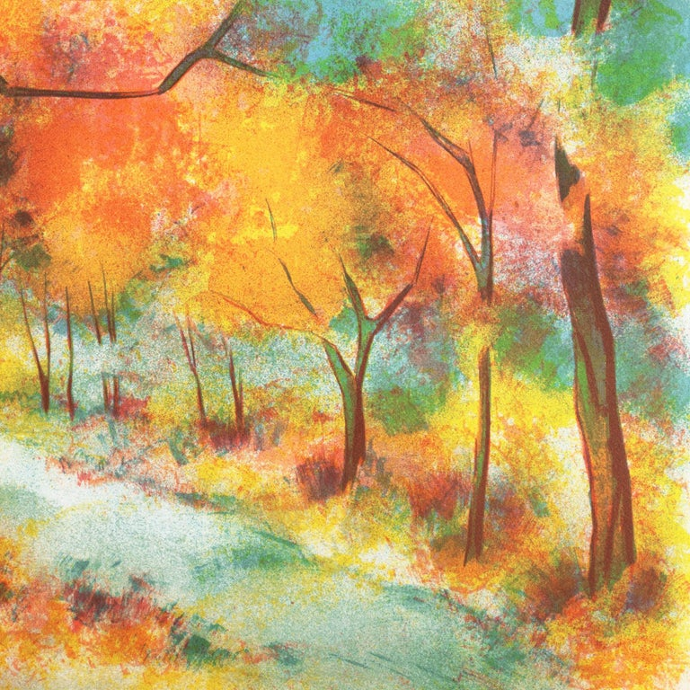 Fall Leaves  (Post-Impressionism, French, tree, red, orange) For Sale 5