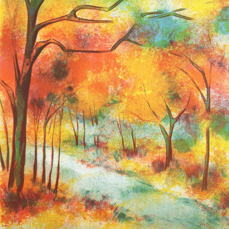 Fall Leaves  (Post-Impressionism, French, tree, red, orange) For Sale 6