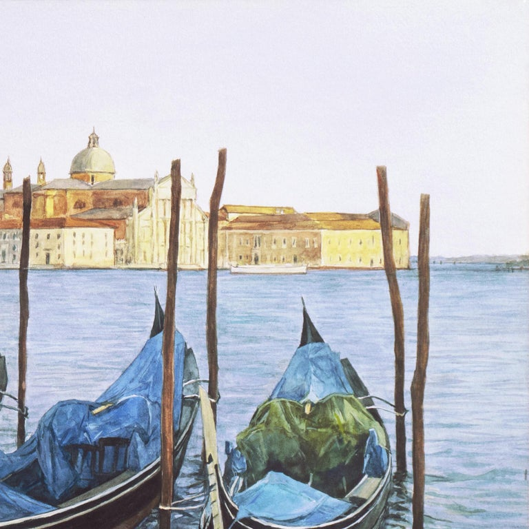 Waiting Gondolier, Venice with a view towards the island of San Giorgio Maggiore For Sale 4
