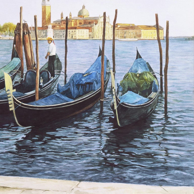 Waiting Gondolier, Venice with a view towards the island of San Giorgio Maggiore For Sale 5