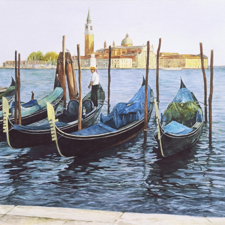 Waiting Gondolier, Venice with a view towards the island of San Giorgio Maggiore For Sale 3