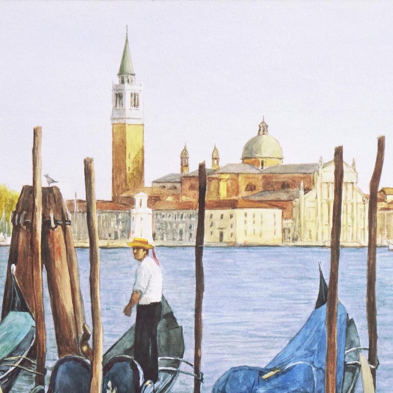 Waiting Gondolier, Venice with a view towards the island of San Giorgio Maggiore For Sale 7