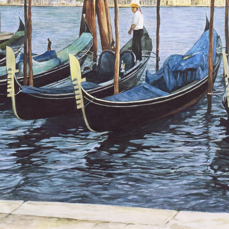 Waiting Gondolier, Venice with a view towards the island of San Giorgio Maggiore For Sale 8