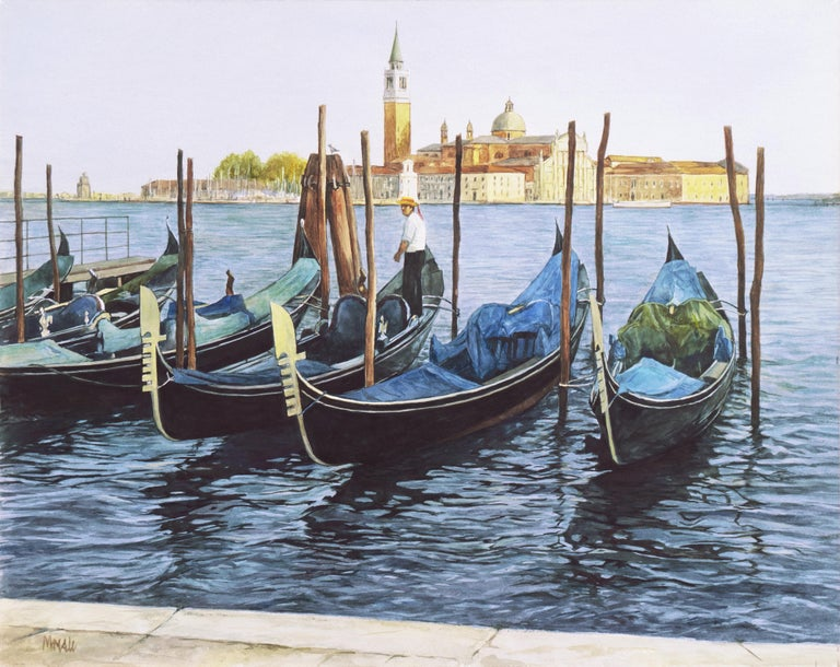 Signed lower left, 'Moesle' for Robert Moesle (American, b. 1932); additionally signed verso, titled 'Waiting Gondolier' and dated March 1998.   A substantial and finely detailed watercolor showing a lone gondolier standing on his gondola beneath a