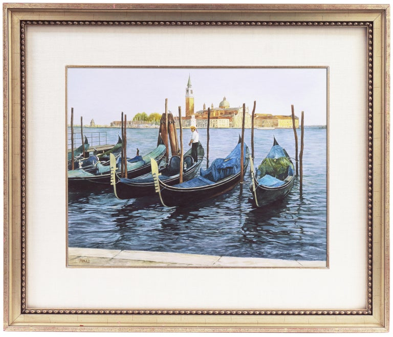 'Gondolas, San Giorgio Maggiore', Venetian Vedute, Venice, Ruskin School of Art - Gray Figurative Art by Robert Moesle
