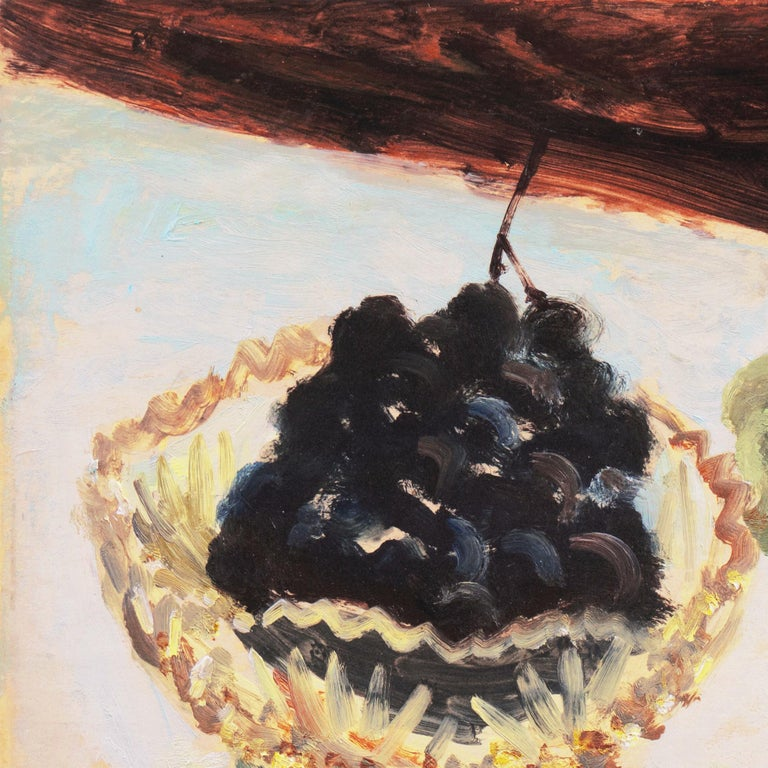 Still Life of Green and Black Grapes   (Japanese, Post-Impressionist, framed) For Sale 2