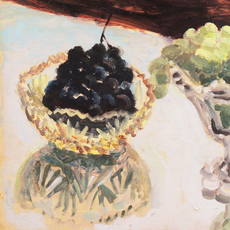 Still Life of Green and Black Grapes   (Japanese, Post-Impressionist, framed) For Sale 1
