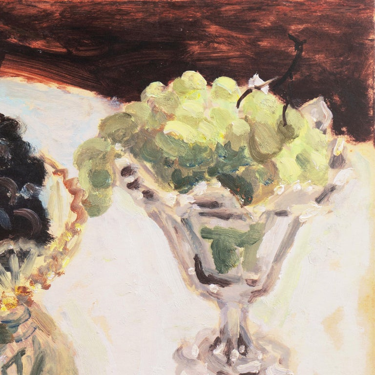 Still Life of Green and Black Grapes   (Japanese, Post-Impressionist, framed) For Sale 4