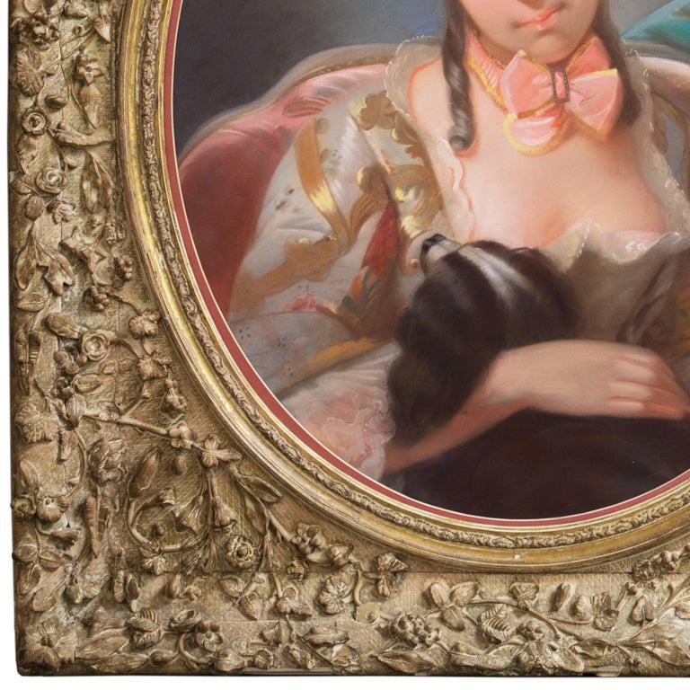 Louis XV Style Rococo Pastel of a Young Lady with a Spaniel   For Sale 2