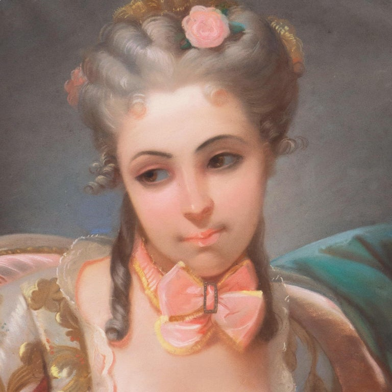 Louis XV Style Rococo Pastel of a Young Lady with a Spaniel   For Sale 5