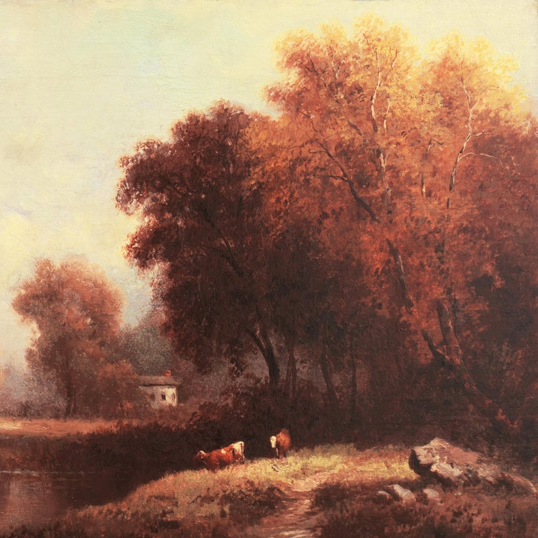 Apparently indistinctly signed lower right, see detail*,  and painted circa 1870.  A fine and atmospheric, late 19th-century river landscape showing a panoramic view of cows watering on a riverbank with a figure and a farmhouse in the distance. An