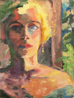 'Study of a Woman', Post-Impressionist oil Figural