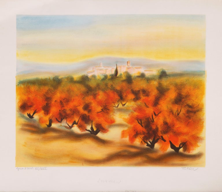 Lourmarin (Post-Impressionism, French, Provence, Orchard, Rural) - Print by Victor Zarou