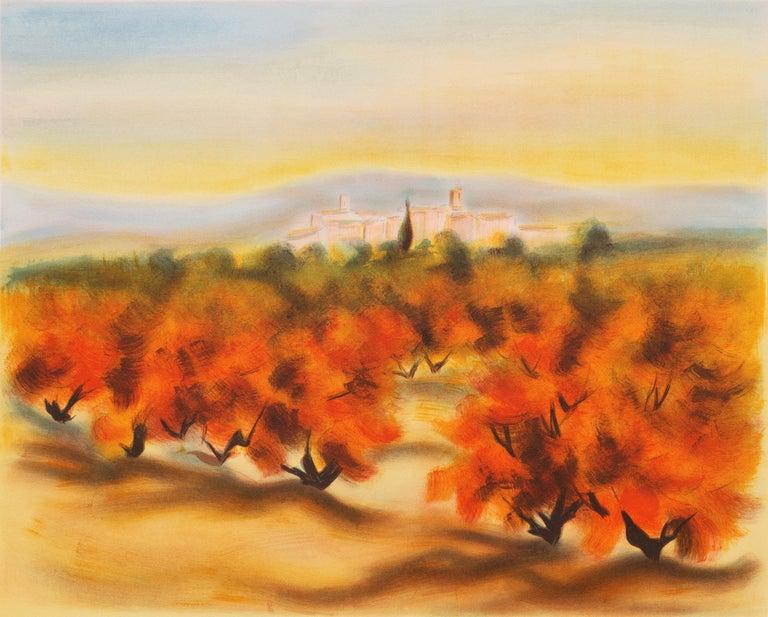 Victor Zarou Landscape Print - Lourmarin (Post-Impressionism, French, Provence, Orchard, Rural)