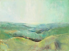 California Coastal Landscape (Abstraction, Mid-Century, Modernism, Green, Blue