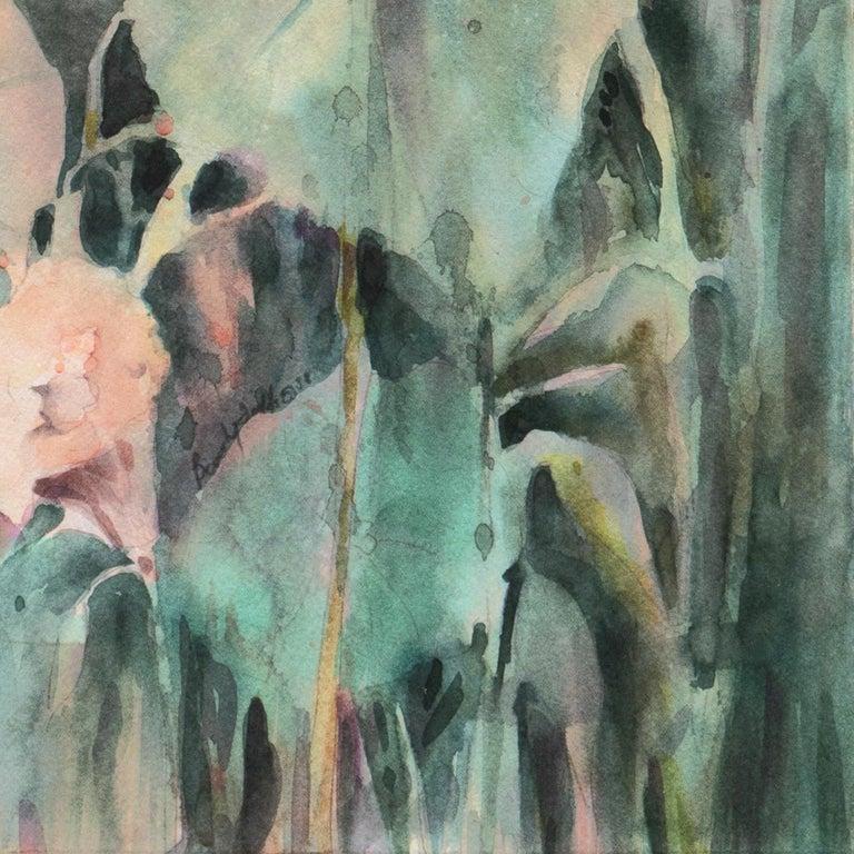 'Water Lilies', California Watercolor Society, SWA, Woman Artist, Zoltan Szabo - Gray Still-Life by Beverly Fields