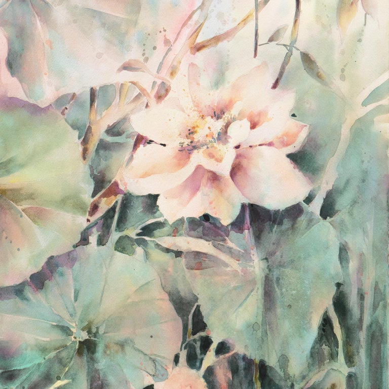 'Water Lilies', California Watercolor Society, SWA, Woman Artist, Zoltan Szabo For Sale 1