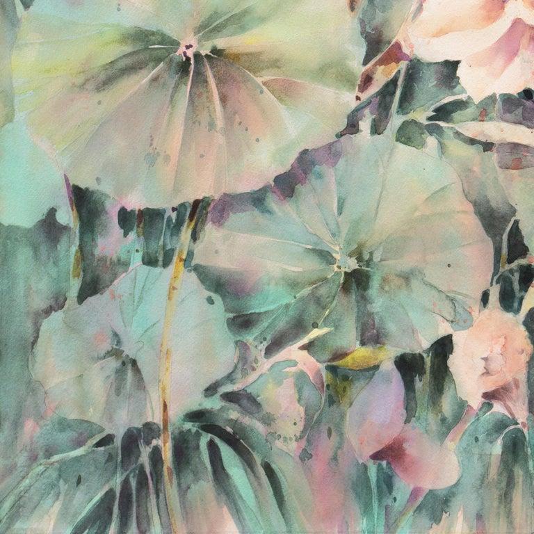'Water Lilies', California Watercolor Society, SWA, Woman Artist, Zoltan Szabo For Sale 4