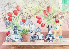 Red Tulips and White Blossoms in Blue and White Porcelain (Realism, Still Life)