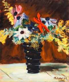 'Dahlias and Wildflowers', Mid-Century oil still life