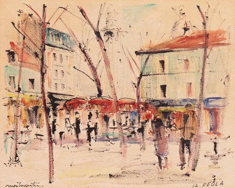 Charles Feola Landscape Art - Montmartre, Paris   (Sacré-Cœur, Bell Tower, Impressionism, Modernism)