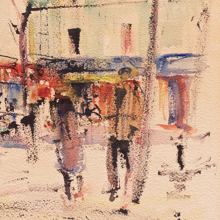 Signed lower right, 'Ch. Feola' for Charles Feola (French, 1917 - 1994) and painted circa 1950; additionally titled lower left, 'Montmartre'.   A vibrant and calligraphic,  mid-century, gouache showing a view of the Place du Tertre in Montmartre