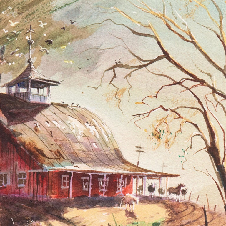 'Early Snow on a Dutch Barn Roof', Rural landscape - Brown Landscape Painting by LaVere Hutchings