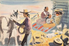 Navajo Family   (Modernism, animal, desert, Southwest, Native American)