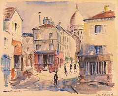 View of Montmartre, Paris   (Place du Tertre, Sacré Cœur, Modernism)
