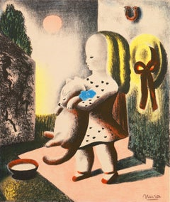 Anabel and Millicent   (Modernism, Woman Artist, child, art deco, cat)