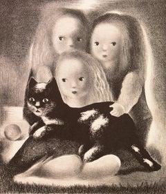 Family Portrait   (Modernism, Woman Artist, children, art deco, cat)