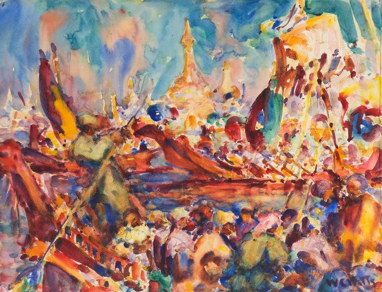 William Clothier Watts Landscape Art - Post Impressionist Burmese Water Pageant; Myanmar by Carmel Artist; PAFA, AIC