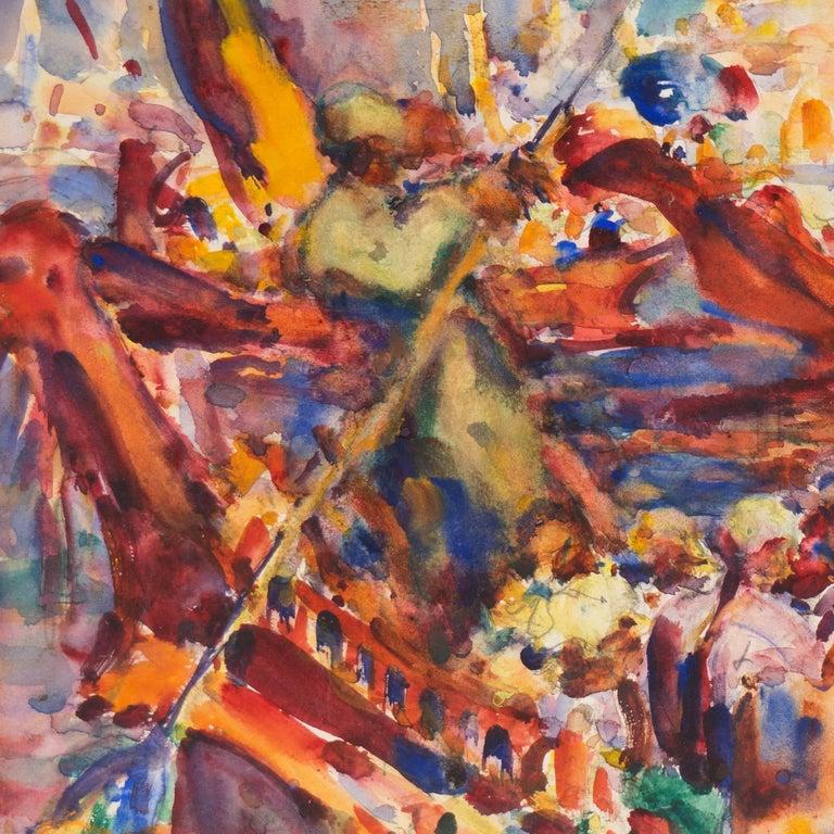 Post Impressionist Burmese Water Pageant; Myanmar by Carmel Artist; PAFA, AIC 1