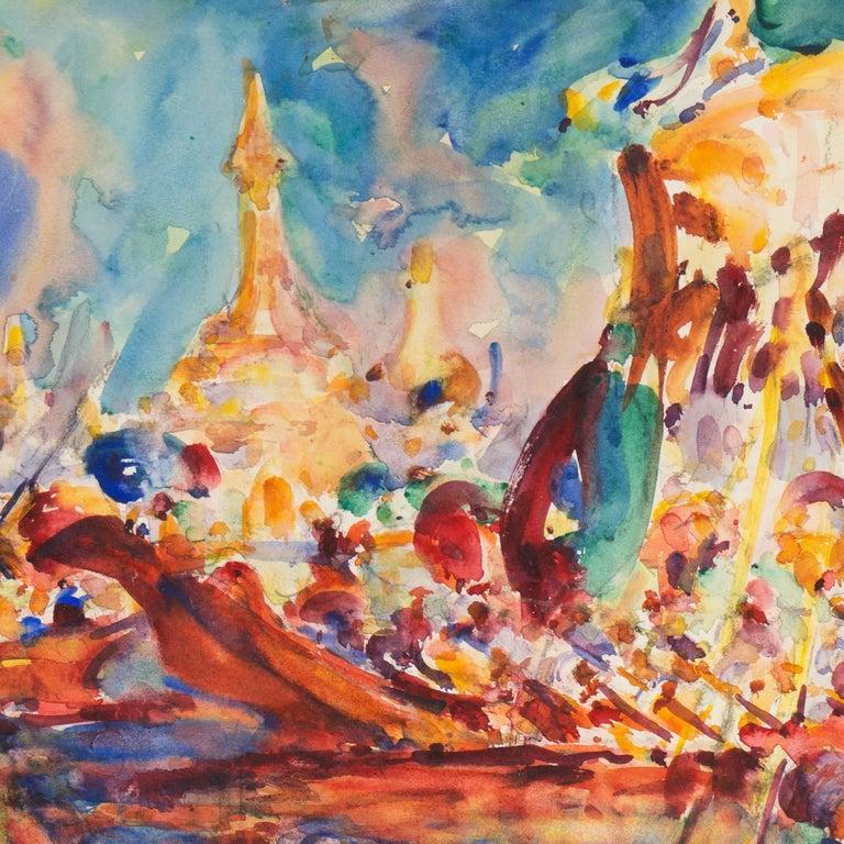 Post Impressionist Burmese Water Pageant; Myanmar by Carmel Artist; PAFA, AIC 2