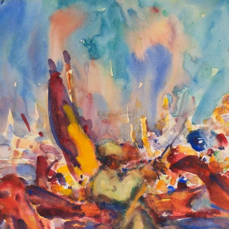 Post Impressionist Burmese Water Pageant; Myanmar by Carmel Artist; PAFA, AIC 3
