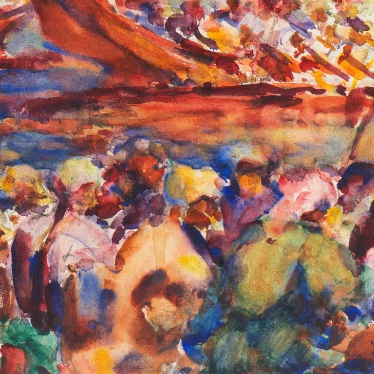 Post Impressionist Burmese Water Pageant; Myanmar by Carmel Artist; PAFA, AIC 5