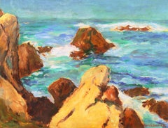 'Coastal Breakers', Post-Impressionist Mid-century Oil, Woman Artist
