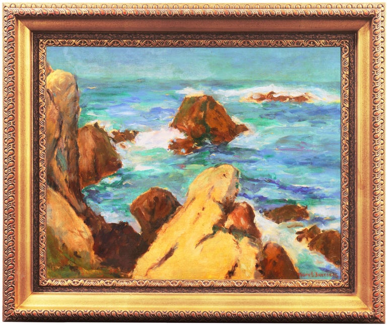 'Coastal Breakers', Post-Impressionist Mid-century Oil, Woman Artist - Painting by Mary Juergens