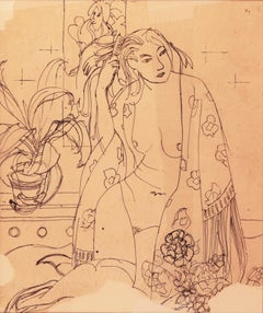 Large Pen and Ink of a Woman in a Kimono by California Post Impressionist Artist