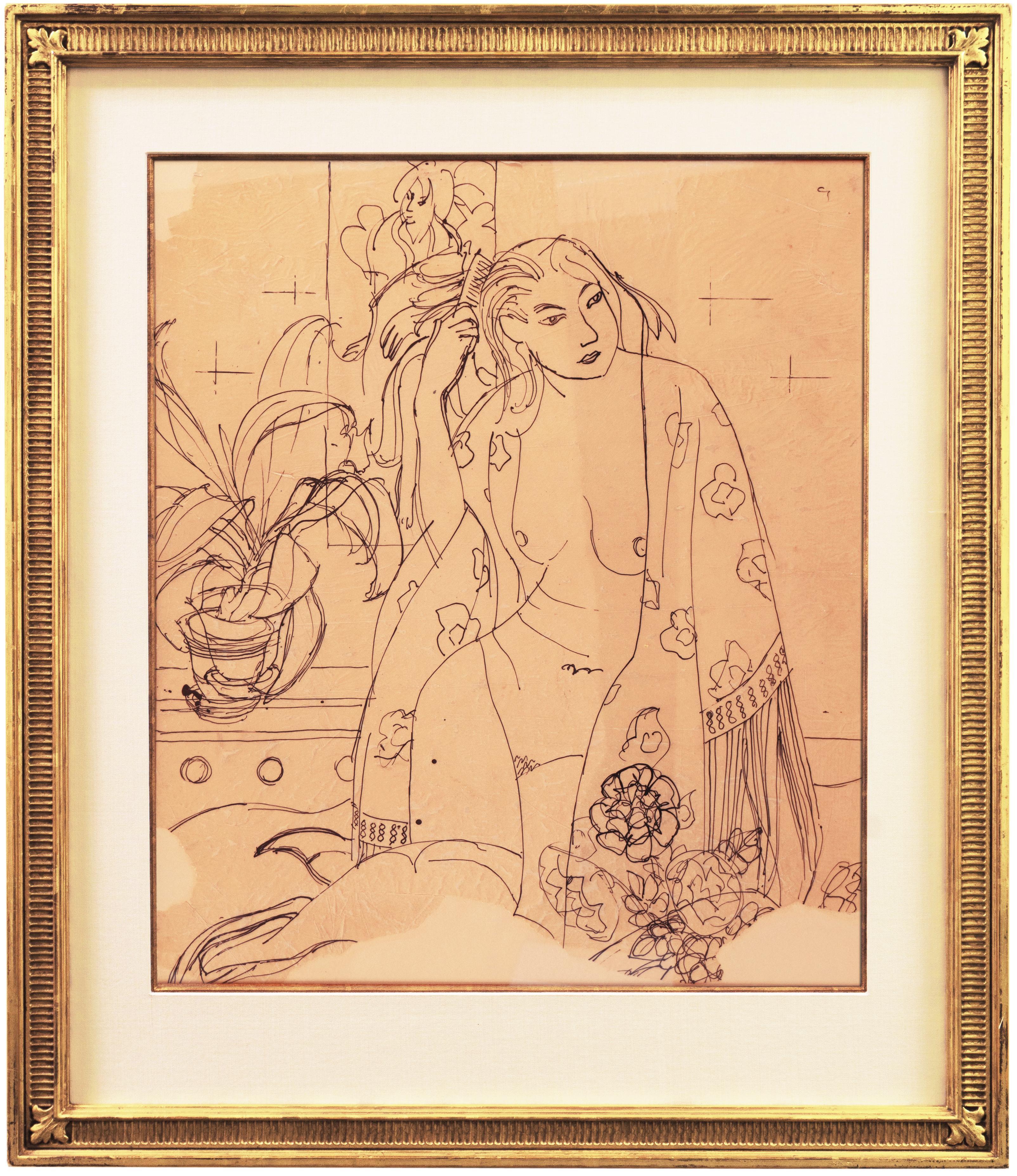 'Woman in a Kimono', LACMA, California Post-Impressionist pen and ink, Louvre