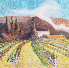 Pointillist Landscape of Vineyards in the Tuscan Countryside