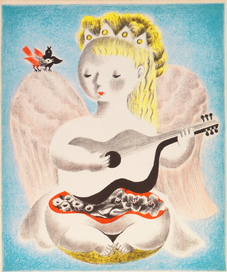 Angel and Harmony (Modernism, Woman Artist, Art Deco, music, girl, forties)
