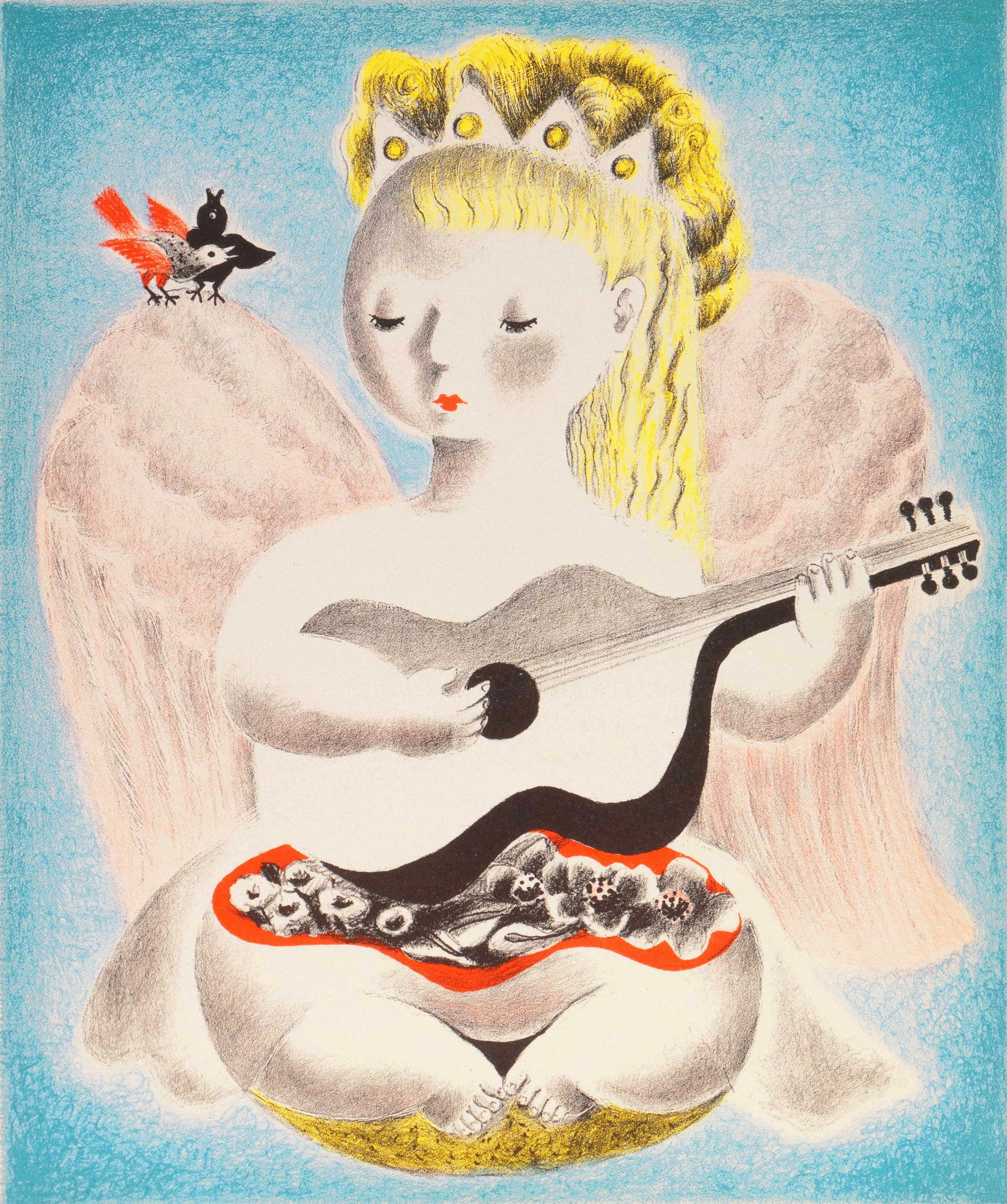 'Angel and Harmony', Art Deco Lithograph, Woman Artist, Salon d'Automne, Paris